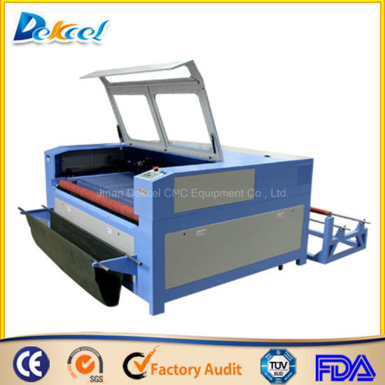 Dek-1810 Textile Auto-Feeding CO2 Laser Cutting Machine Double Cutting Head pictures & photos