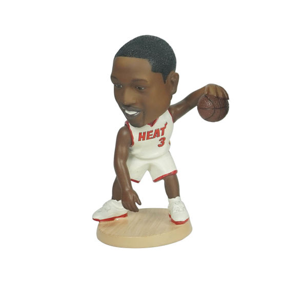 Hot Sell Polyresin Famous NBA Superstar Baller Dwyane Wade Action Figure Car Dashboard Bobble Head for Souvenir and Gift