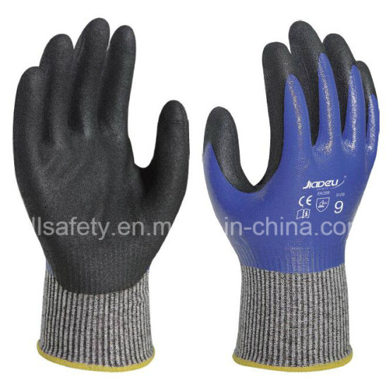 Labor Safety Factory Price Protective Hands Fully Coating Cut Resistant Work Glove with Nitrile Dipping (ND6516)