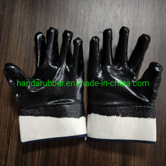 Nitrile Assembly Clamping Safety Gloves, Black Nitrile Smooth Coating Industrial Work Gloves
