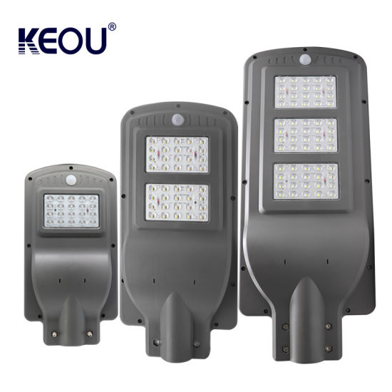 Keou New Factory Price Outdoor Housing Waterproof IP65 60W Smart Motion Sensor All in One Solar LED Street Light with Battery