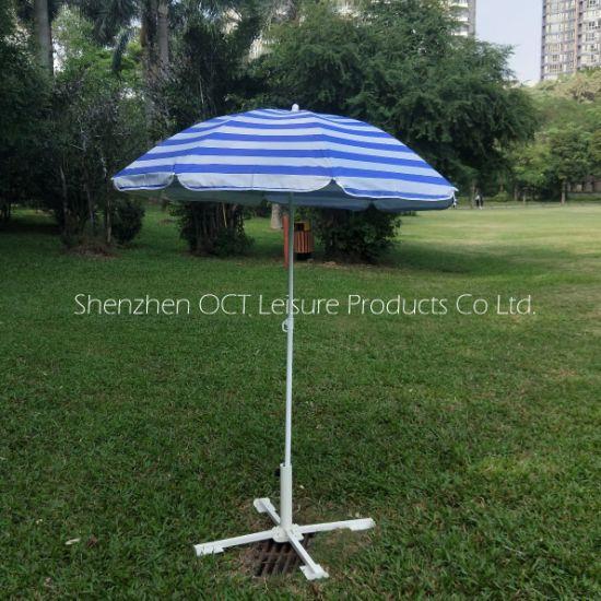 Stripe White and Blue Beach Sun Block Umbrella with Silver Coating (OCT-BU19014)