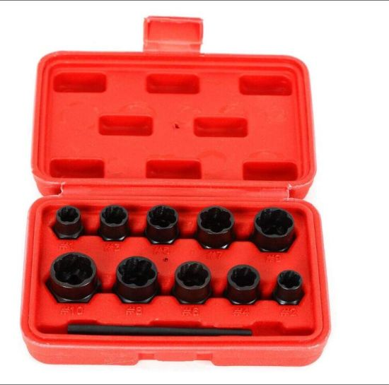 China Nut Bolt Stud Extractor Set Tool Kit For Removal Locking Wheel Nuts 11pcs Nut Remover Set Nut Extractor Socket Bolt Remover Tool Set China Screw Extractor Drill Bit