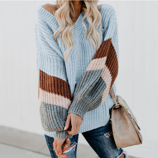 Hot Sale Women V-Neck Striped Puff Sleeve Pullover Sweater