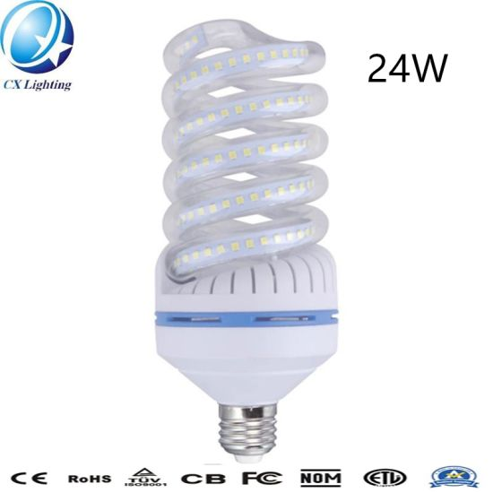 E27 24W Spiral Glass LED Energy Saving Lamp