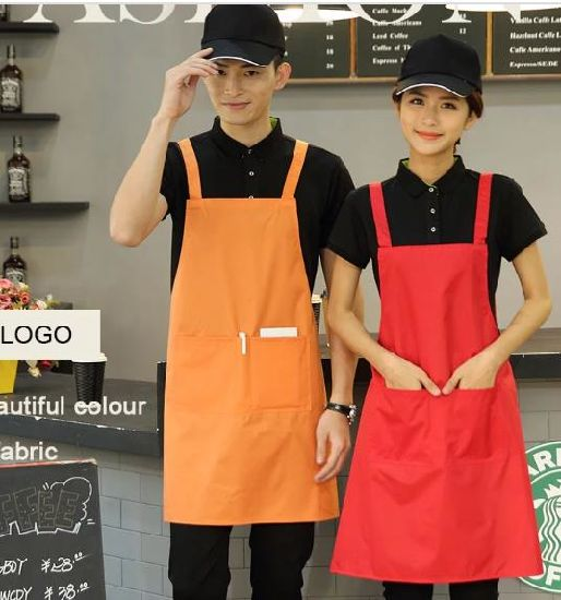 Chef Apron Customized Cotton Fabric Aprons Custom Logo Apron Waterproof