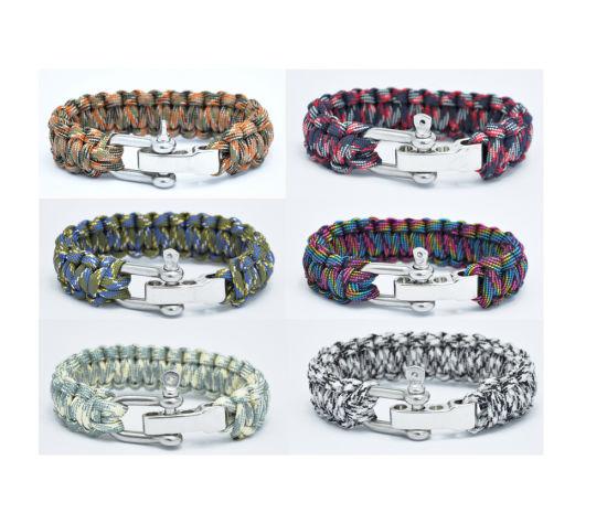 Adjustable Zinc Alloy Buckle Paracord Bracelet