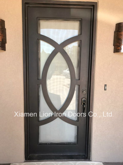 China Exterior Wrought Iron Entry Door With Tempered Glass And