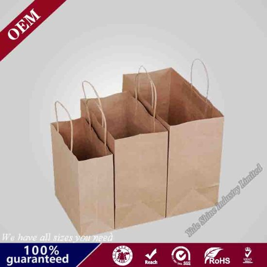 Thick Paper 8X4.75X10 Inch 50 Pack, Bagmad Medium Sturdy Kraft Paper Shopping Bags with Handles Bulk Gift Natural Party Retail Craft Brown Take out Bag