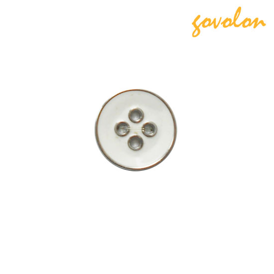 4 Holes Resin Button with Metal Cover for Garment