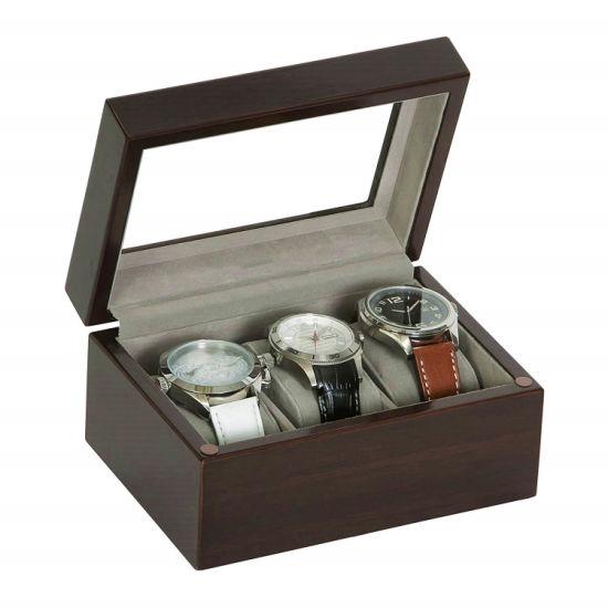 Wood Watch Box 3 Slots Wood Organizer Display Storage for Watch Matte Finish