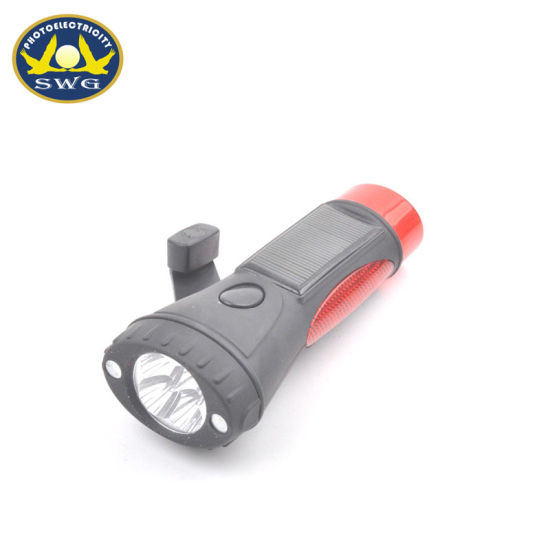 Hand Crank Emergency Flashlight Solar Caution Flashlight with Magnet pictures & photos
