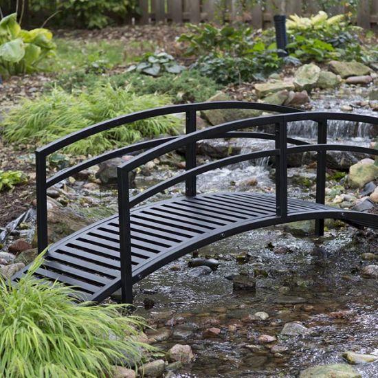 China Contemporary Outdoor Metal Garden Bridge In Black Steel With