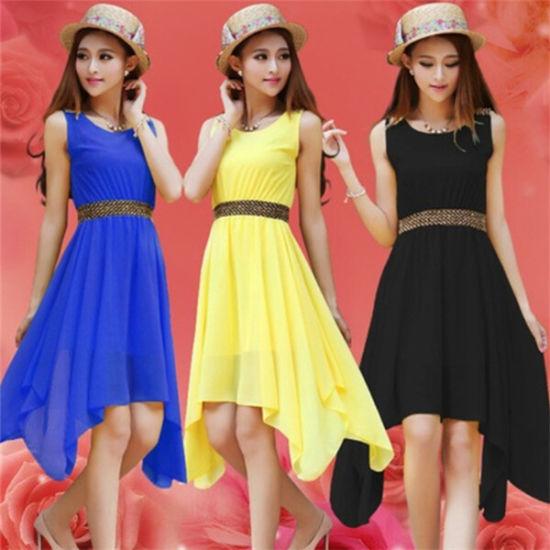 China Plus Size Girl Knee Length Peach Chiffon Dress - China Dress ...