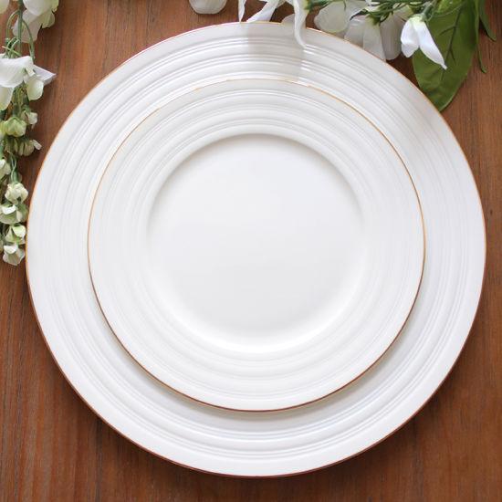 White Porcelain Plate Bone Steak Plate High-Grade Ceramic