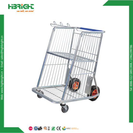 4 Wheels Warehouse Platform Cargo Transport Trolley Cart pictures & photos