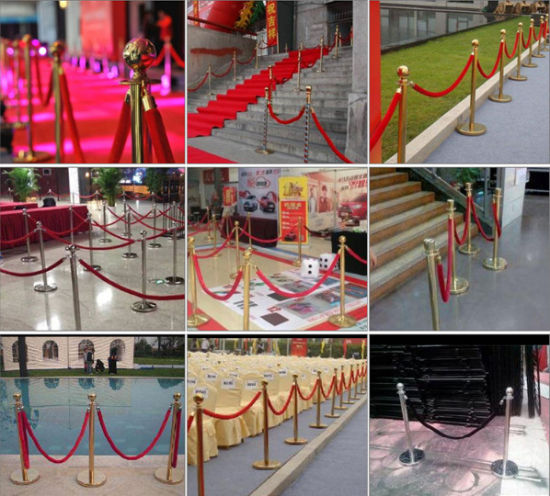 Yc-N02 Gold and Silver Stainless Steel Railing Stand with Blue Film Rope PE Nylon Rope UHMWPE Rope Sisal Rope pictures & photos