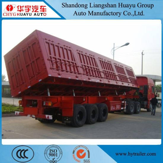Tri Axle Heavy Duty Side Tipper Coal/Mineral/Sand Transport Semi Truck Trailer