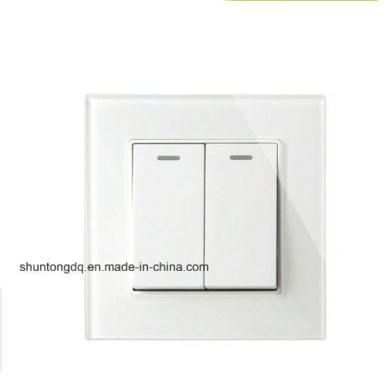 16a 2 Gang Way Push On Light Wall Switch Universal Hotel Luxury Crystal Tempered Gl Uk Eu Standard