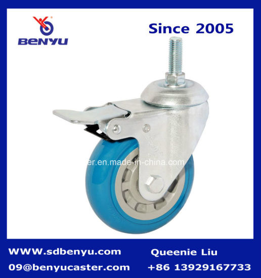 Quality Blue Color Polyurethane Side Locking Caster Wheel pictures & photos