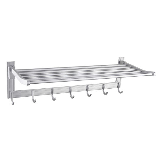 Luolin Aluminum Hotel Towel Rack Bathroom Folding Shelf Shower Towel Bar Hanger with Extra Hooks, Anodized 91703-5