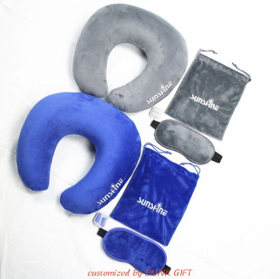 Travel Kit Sleeping Set Inflatable Neck Pillow Eye Mask Ear Plug with Pouch