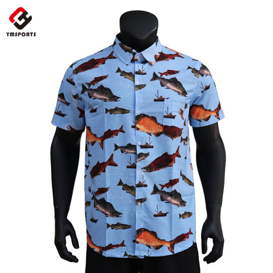 100% Cotton Custom Printed Hawaiian Men Casual Shirts