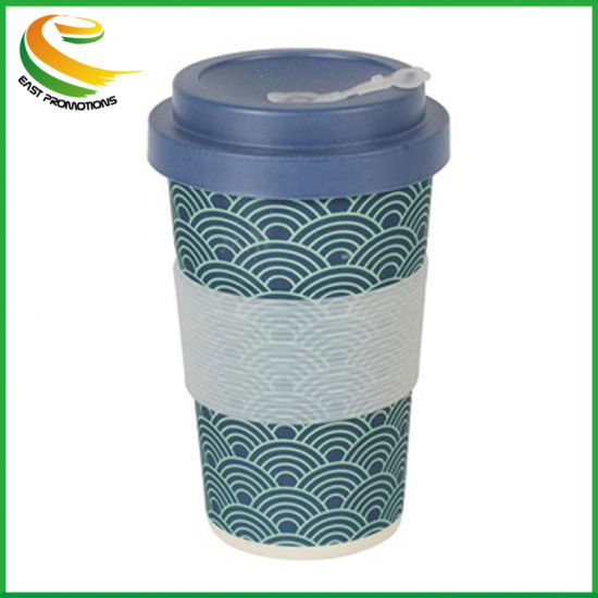 16oz Travel Mug Bamboo Fiber Coffee Cup with Silicone Ring