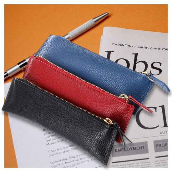 Genuine Leather Pencil Case Zippered Pen Case Stationery Bag Zipper Pouch Pencil Holder