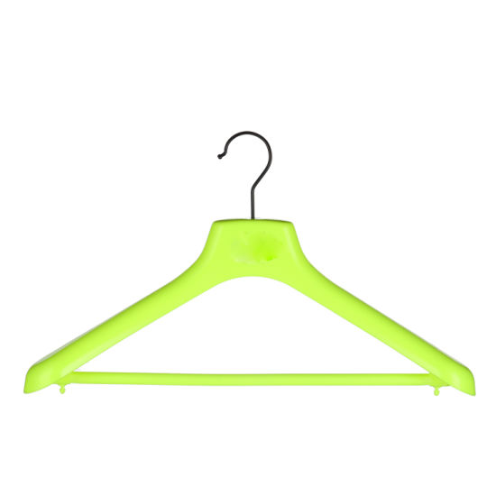 Fluorescent Yellow Plastic Hanger with Pants Bar for Wide Shoulder
