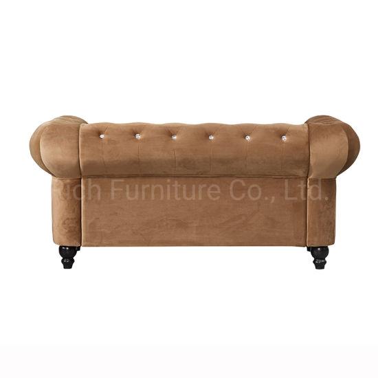 Modern Design Hotel Furniture Living Room Sectional Assembled Black Velvet  Chesterfield Sofa Set 2 Seater