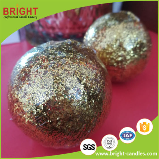 Gold Glitter Gift for Christmas Small Ball Candle