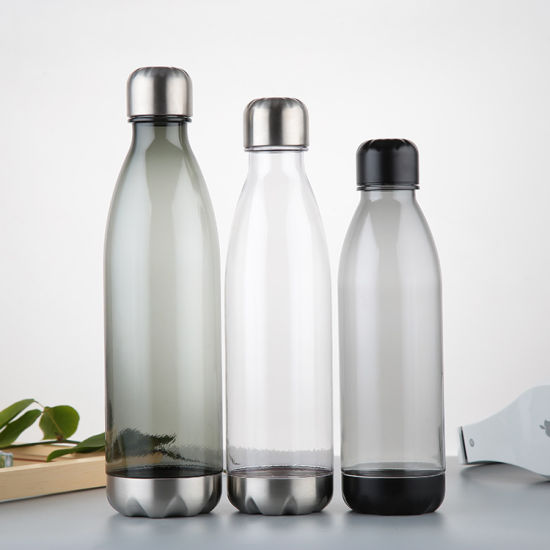 BPA Free Plastic Cola Bottle Shaped Reusable Tritan Water Bottle with Stainless Steel Cap
