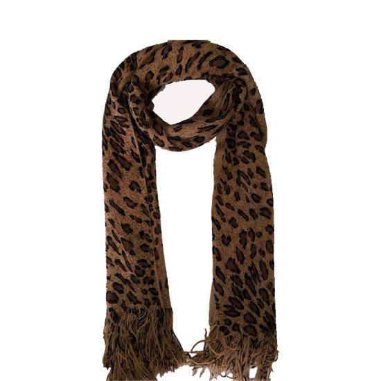 Lady Fashion Knitting Super Soft Leopart Print Scarf
