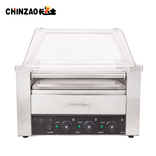 commercial hot dog roller with bun warmer