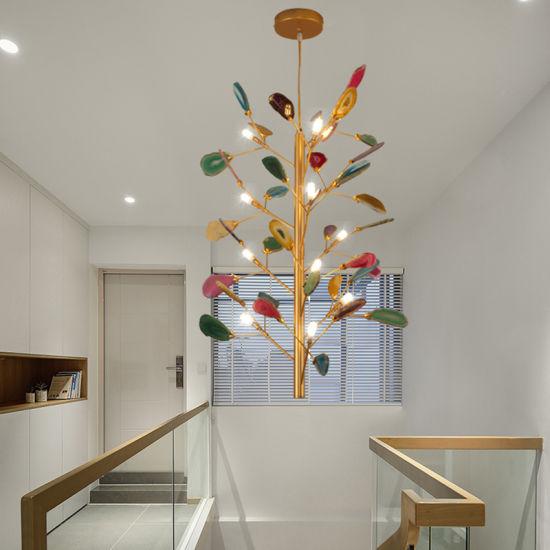 Modern Light Luxury Creative Corridor Corridor Staircase Restaurant Agate Chandelier