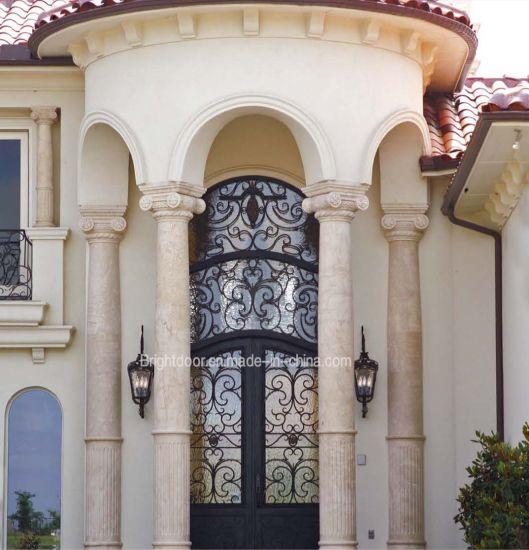 Modern Metal Door Security Entry Swing Door Wroughr Iron Door