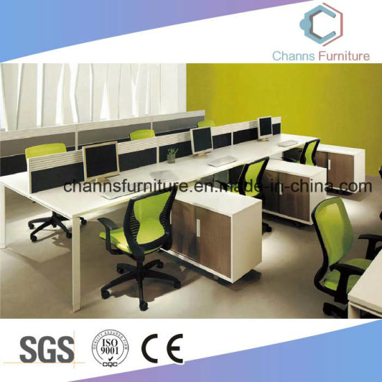 Six Seat Modular Office Workstation Aluminum Partititon With Side Cabinet  (CAS W1887)