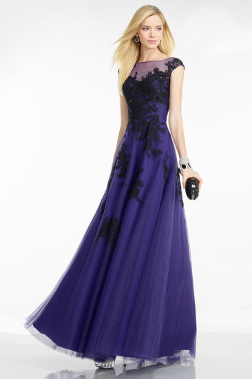 Hollow Back Black Lace Purple Tulle Party Evening Dress
