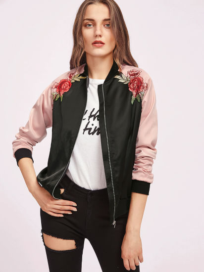 e0d0fba48 2017 Symmetric Embroidery Patch Contrast Raglan Sleeve Women Satin Bomber  Jacket