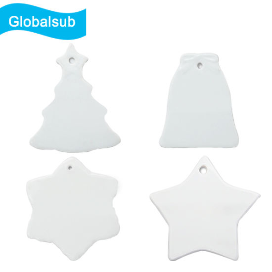Sublimation Ceramic Ornament with Christmas Tree Pendent Blanks pictures & photos