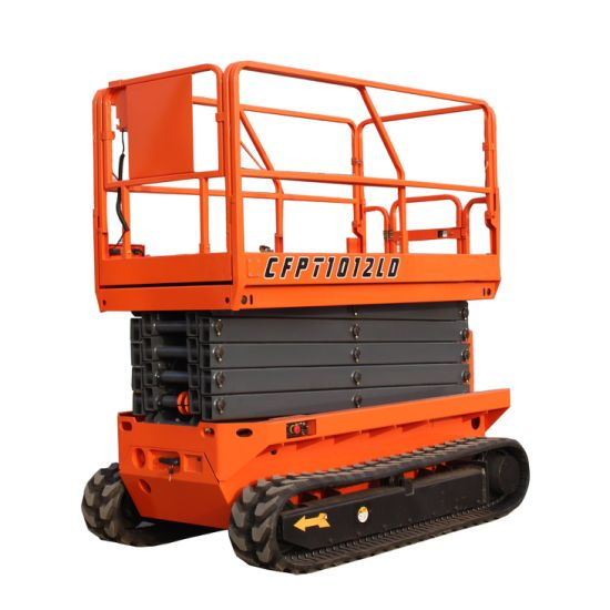 China Supplier 6m 8m 10m 12m 14m Battery Power All Rough Terriantracked Crawler Lift with Ce Certification