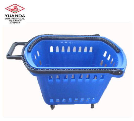 Rolling Foldable Shopping Cart Plastic Shopping Basket pictures & photos