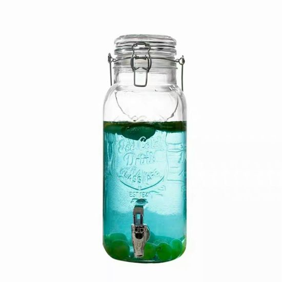 Clear Glass Ferment Jar Glass Bervenge Dispenser with Lid and Buckle pictures & photos