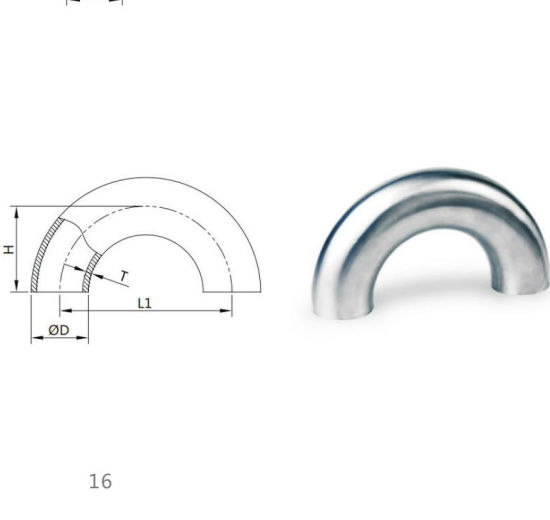 China Sanitary Stainless Steel Pipe Fittings 180 Degree Welded Elbow