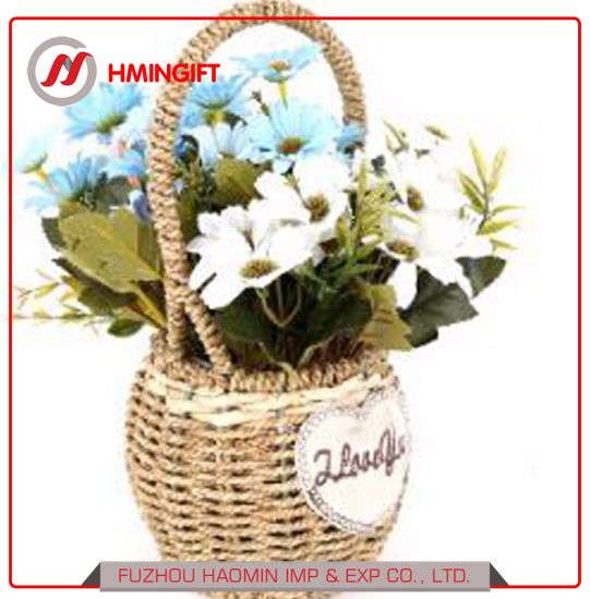 China Rattan Knitting Portable Flower Basket Home Decoration