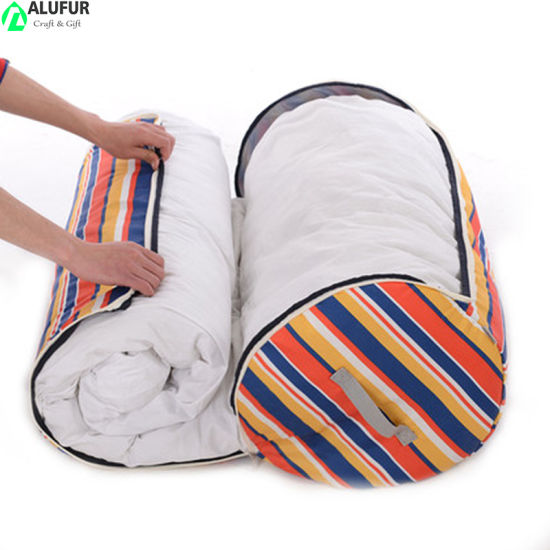 Foldable Circle Zippered Bucket Quilt Organizers and Cylinder Storage Bag