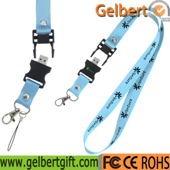 Portable Heat Transfer Lanyard USB Memory Stick for Corporate Gift