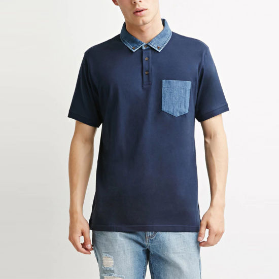 Men Denim-Trimmed Chest Pocket Polo T-Shirt