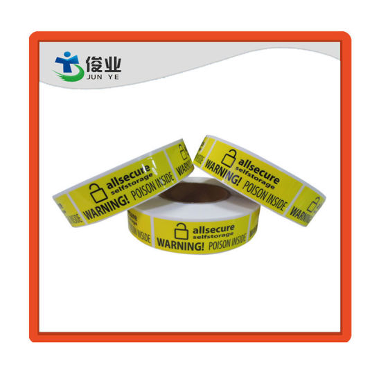 Well-Marked Yellow Safe Warning Paper Sticker/Roll Warning Label pictures & photos